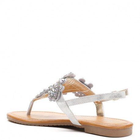 Ideal Shoes - Sandales plates à strass Meera Argent