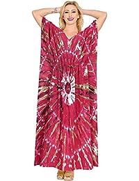 LA LEELA Donne Rayon Kaftan Tunica Tie Dye Kimono Libero Formato Lungo Maxi  Partito Caftano Vestito per Loungewear Vacanze Pigiama Spiaggia di… 7ab08ae4068