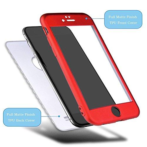 Custodia iPhone 6S Plus, iPhone 6 Plus Cover Case, JAWSEU [360 gradi] 3 in 1 Protezione Completa fronte e retro Bella Matte opaco Flessibile Silicone Custodia per Apple iPhone 6 Plus/6S Plus Cover Cas Matte Rosso
