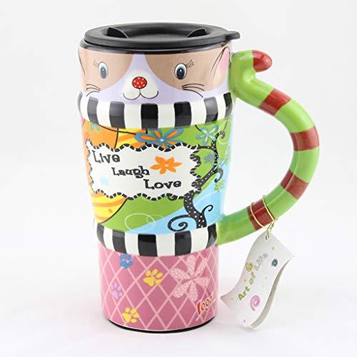 CJH Tasse De Chat Peint Tasse De Mignon Avec Couvercle Avec Une Cuillère Tasse À Café En Céramique Couple Créatif Tasse C