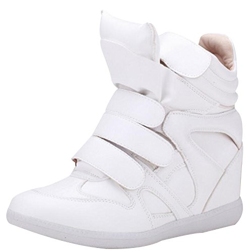 Womens Ladies Faux Leather Ankle High Top Paneled Wedge Trainers Sneakers Shoes white
