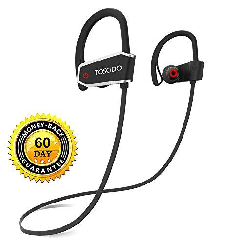 Auricolari bluetooth wireless - toscido sport in-ear cuffie bluetooth 4.1 senza fili ipx7 impermeabile,cvc6.0 riduzione rumore con microfono per iphone x/8/7/7 plus/6 ed android smartphone - nero