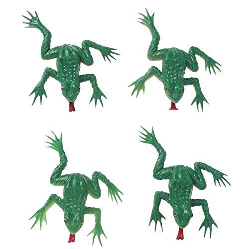 (BESTOYARD Gummi Frosch Mini Frosch Spielzeug Realistische Frosch Figur für Halloween Party Requisiten 4 Stück (Zufällige Farbe))