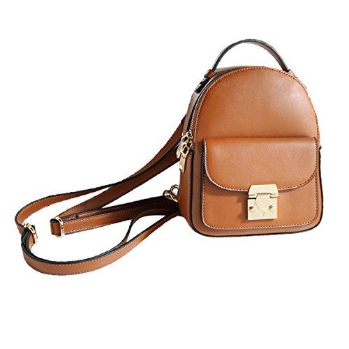 Vintage PU Leder Mini Rucksack Für Frauen Split Joint Daypack Satchel,Brown-M