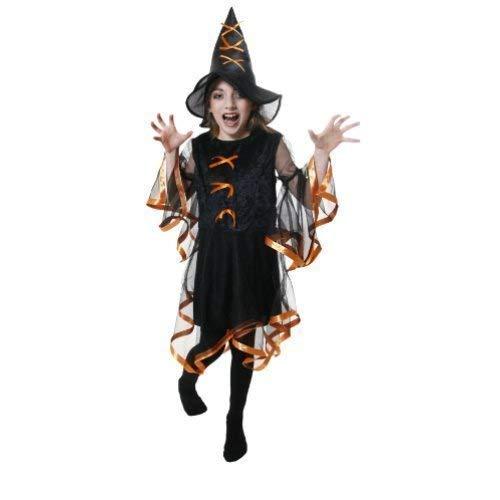 Fancy Me Mädchen Schwarz / Orange Böse Hexe Halloween Kleid Party Kostüm Outfit 10-12 Jahre