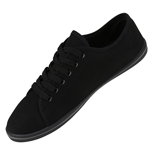 Sportliche Damen Herren Sneakers | Unisex Basic Freizeit Schuhe | Schnürer Stoffschuhe | Prints viele Farben Schwarz Grau