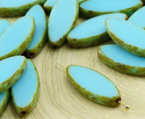 6pcs Picasso Brun Opaque Bleu Turquoise Ovale et Plate de Pétales de Table à la Fenêtre de Coupe tchèque Perles de Verre 18mm x 7mm
