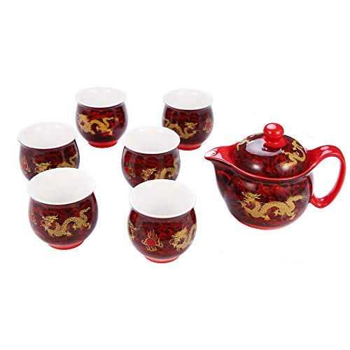 7 Piece Red Chinese Kung Fu Tea Set,Yellow Dragon Pattern Vintage Bone China Tea Set, For Household Office