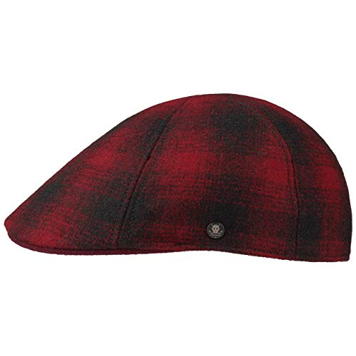 Stetson Texas Wool Check Gatsby Cap Wollcap Schirmmütze Schiebermütze Flatcap Herren   mit Schirm, Futter, Futter Herbst-Winter   L (58-59 cm) rot -