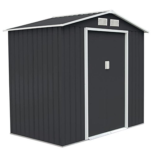 Bild zu SVITA Metall Gerätehaus 213x127x185cm Geräteschuppen Schuppen Gartenhaus Outdoor dunkelgrau