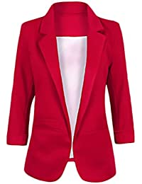 Blazer Mujer Talla Grande Negocios Office Wear Blazers 3 4 Mangas De Solapa  De Bolsillos Elegantes Colores Sólidos Otoño Tumblr… d6131533f9ba