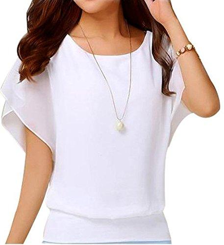 LILBETTER Damen Sommer Casual Loose Fit Kurzarm Batwing T-Shirt Chiffon Top Bluse(Weiß L)