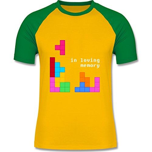 Shirtracer Nerds & Geeks - Tetris in Loving Memory - Herren Baseball Shirt Gelb/Grün