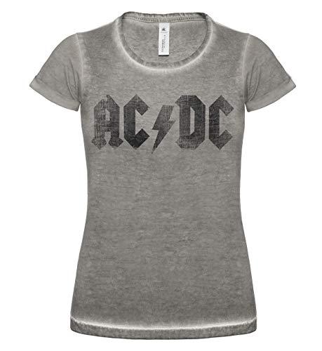 LaMAGLIERIA Damen T-Shirt Vintage Look Ac Dc Black Logo Grunge Print Cod. Grpr0008 - Frauen Vintage DNM Plug-in T-Shirt mit Rock Vorderdruck, Medium, Grey Clash