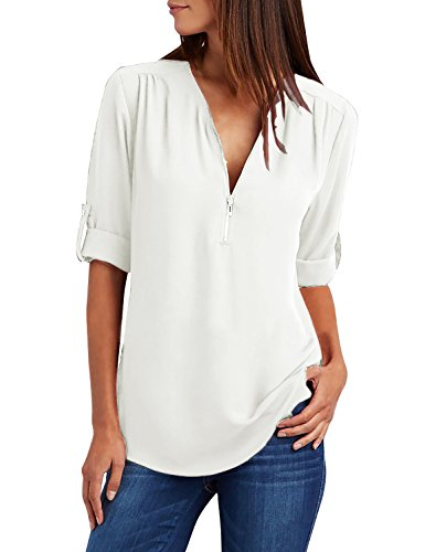 Yidarton Damen Blusen Chiffon Langarm Tunika mit Reißverschluss Vorne V-Ausschnitt Oberteile T-Shirt (Weiß, Small)