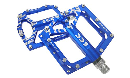3Kugellager Mountain Bike Pedale Aluminium Legierung Licht Gewicht Straße Reiten Fahrrad Pedale Plattform versiegelt Lagerung Achskörper M blau