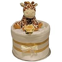 Unisex Baby Nappy Cake Plush Giraffe or Zebra Toy Rattle Mitts Rose Muslin Gift