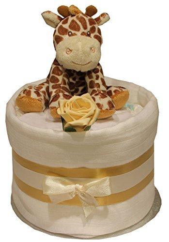 unisex Baby Windel Torte Plüsch Giraffe oder Zebra Spielzeug Babyrassel Handschuhe Rose Musselin Geschenk - Giraffe (Baby Baby-dusche Co Und)