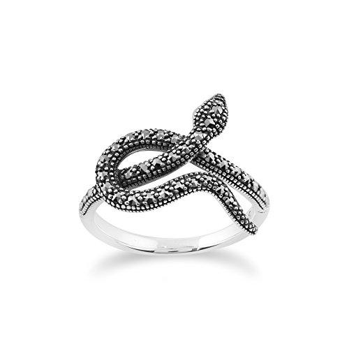 Gemondo Jugendstil Ring, 925 Sterlingsilber 0.42ct Karat Markasit Jugendstil Schlangendesign Ring