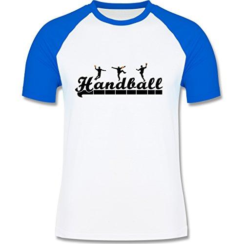 Shirtracer Handball - Handball Sturm Torwart Schriftzug - Herren Baseball Shirt Weiß/Royalblau