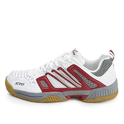 OUCB Männer Frauen Badminton Schuhe, Anti-Rutsch-Wear-Resistant Athletischer Turnschuh Professionelle Indoor Sport-Tennis-Schuhe,Rot,44