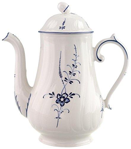 Villeroy & Boch Vieux Luxembourg Cafetera, 1.3 litros, Porcelana Premium, Blanco/Azul, 1300 ML