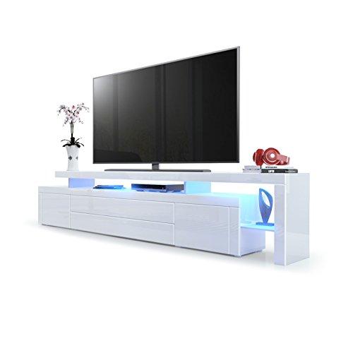 Meuble TV bas Leon V3, Corps en Blanc haute brillance / Façades en Blanc haute brillance avec une bodure en Blanc haute brillance