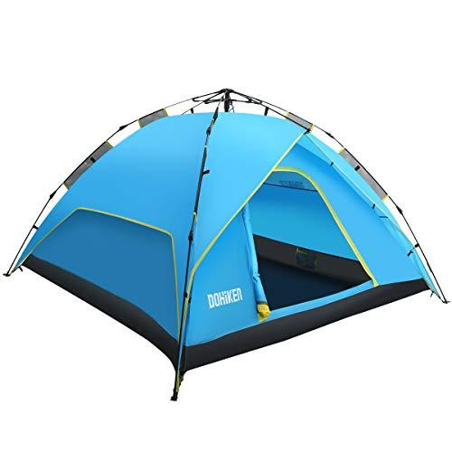 Dohiker  - Camping Zelt Kuppel Zelt für Familien 3-4 Personen Wasserdicht Winddicht Sonnenschutz automatische Zelt gegen Moskitos Insekt (Blau)