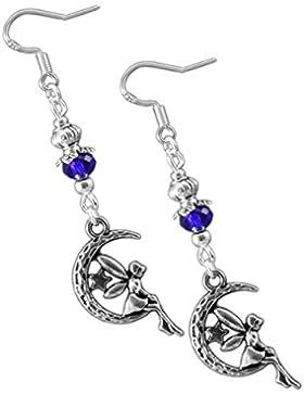Katharina Fairytale Damen Mädchen Ohrringe der Mondelfe mit Fee auf Mond blaue Perle Ohrhaken aus 925er Sterling...