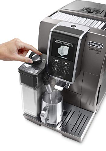 De\'Longhi Dinamica Plus ECAM 370.95.T - Kaffeevollautomat mit integriertem Milchsystem, 3,5\'\'TFT Touchscreen & App-Steuerung, automatische Reinigung, Kaffeekannen-Funktion, 34,8x23,6x42,9cm, Titan