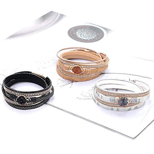 ypypiaol Ethnische Frauen Magnetschnalle Multi Schichten Strass Kunstleder Einfache Casual Armband Schmuck weiß (Leder-bereitstellung Uhrenarmbänder)