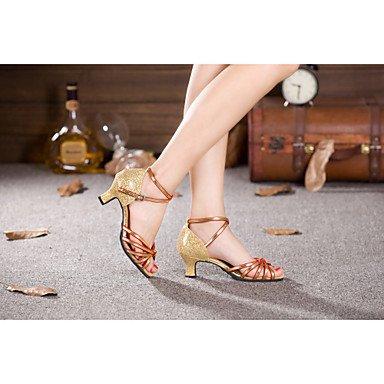 Scarpe da ballo - Non personalizzabile - Donna - Latinoamericano / Samba - Tacco cubano - Satin / Glitter / Paillettes / sintetico -Nero Gold