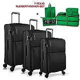 WindTook Trolley Handgepäck Koffer Reisekoffer Zwillingsrollen Weichschalenkoffer Stoffkoffer Gepäck-Sets 4 Rollen für Damen und Herren (Schwarz+7-teilig Kleidertaschen-Set(Grün), 3PCS)