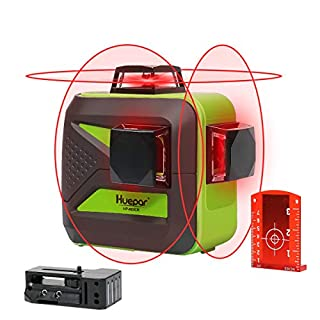 Huepar 603CR 3D Self-Leveling Laser Level 3x360 Red Cross Line Three - Plane Leveling and Alignment Line Laser Level Tool - Two 360° Vertical and One 360° Horizontal Line - Magnetic Pivoting Base