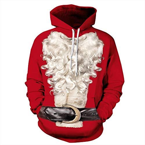 DAXIAL Kapuzenpullover Hässlich Hässlich Weihnachten Hooded Sweater Weibliche 3D Santa Claus Pullover Kapuzenpullover Große Tasche. M
