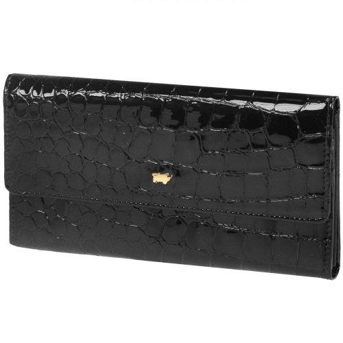Braun Büffel Glanzkroko portafoglio pelle 17,5 cm nero