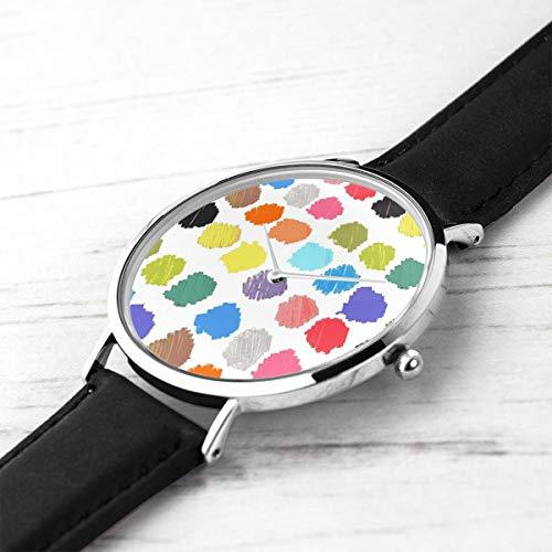 shion Minimalist Armbanduhren Farbige Marker Flecken Wasserdicht Quarz Beiläufige Uhr Mens Womens ()