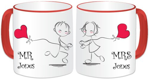 Personalised mr & mrs mug gift set – i love you mug set (2 tazze) – coppia romantica con cuore a forma di aquiloni – manico rosso (gopersonalised design). qualsiasi nome/messaggio. ideale per regalo di nozze, regalo di san valentino
