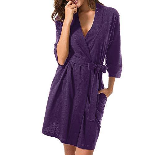 Qmber Kleider Damen Pullover Kleid Bluse Elegant Lose Langarm Einfaches Beiläufiges Strickkleid Viskose Jersey Stretch Skaterkleid, Bandage Kimono Bademantel Nachtwäsche Kleid(Lila,X-Large)