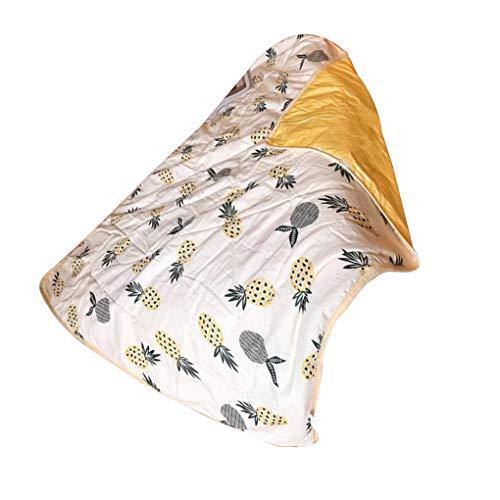 Bomcomi Kinder Quilt Cartoon Ananasfrucht Quilt Kind-Sommer-Klimaanlage Decke 110x150cm (Weiche Decken Für Teens)