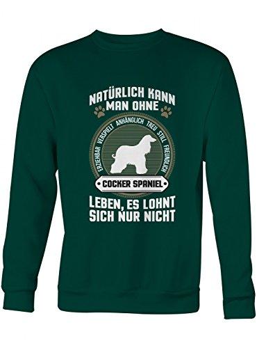 Shirt Happenz Cocker Spaniel Premium Sweatshirt | Eigenschaften | Hunde | Tier | Unisex | Sweatshirts, Farbe:Dunkelgrün;Größe:XXL (Baumwolle Spaniel Cocker Sweatshirt)
