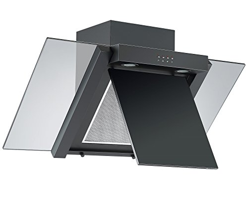 41fF7r9ppJL - Angled Glass Extractor Fan   Cookology ANG905BK Unbranded 90cm Angled Glass Chimney Cooker Hood in Black & Smoked Glass