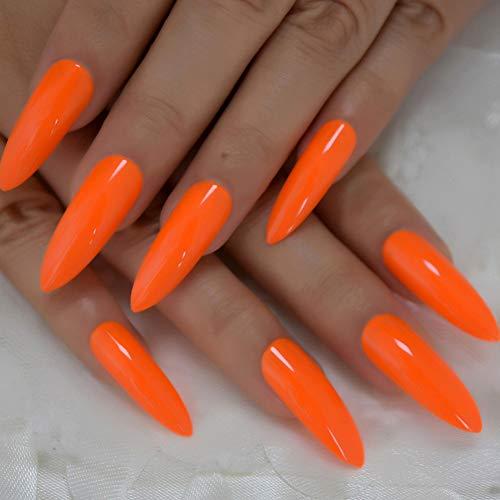 ZJDM Künstliche Nägel Künstliche Nägel Gefälschte Neonnägel Extra Langes Glänzendes Acryl Ombre Faux Ongles Nails 24