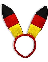 2 Stück Bunny Ohren Deutschland, BRD Farben, Hasenohren, Bunnyohren, Haarreif mit Ohren, Sparset für Stadion, Fanmeile, Parties, Karneval, Junggesellenabschiede, usw.