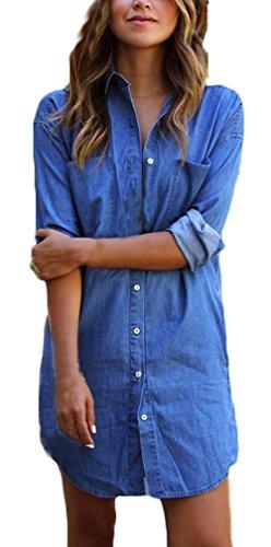 Vestiti donna eleganti estivi corti ragazza camicia vestito taglie forti blu abito di jeans manica lunga casuale ufficio abiti mini puro colore dress vestitini da giorno