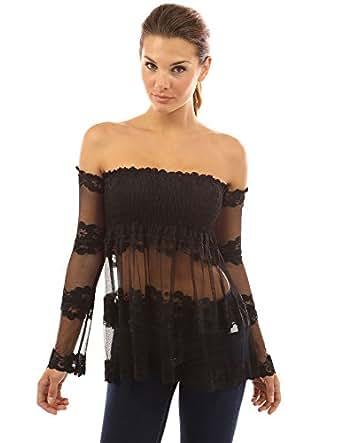 Pattyboutik damen hippie schulterfreie transparente bluse - Hippie bluse damen ...