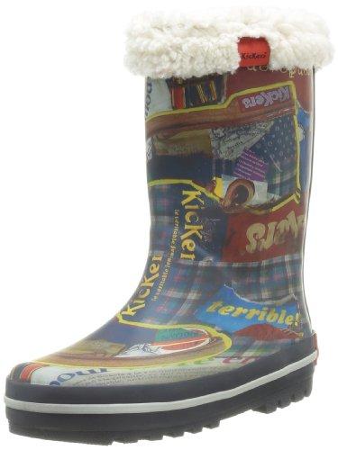 Kickers Rainyday, Bottes de pluie mixte enfant Bleu (Marine Imprime 10)