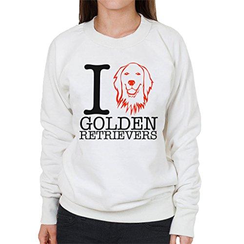 I Heart Golden Retrievers Women's Sweatshirt white