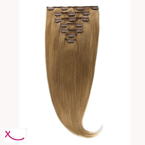 Extiff - Extension cheveux naturel clip lisse - 50cm 100gr - qualité Rémy Hair (27 - Miel doré) - 7 bandes au total 15 clips