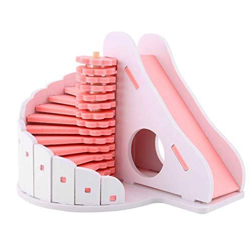 Ishua 1 Satz Holz Hamster Haus, runde Rutsche Balkon Hamster Spielzeug Hamster Käfige Rennmaus Hütte Hideaway Übung Spielen Spielzeug Maus Nest (Rosa) (Hideaway Käfig Hamster)